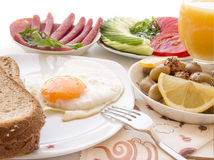 Turkish breakfast table  eggs, bread, Royalty Free Stock Photo