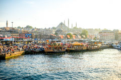 Turkish buffet on boats in Istanbul Royalty Free Stock Image