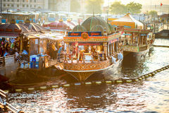 Turkish buffet on boats in Istanbul Royalty Free Stock Photos