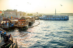 Turkish buffet on boats in Istanbul Stock Photography