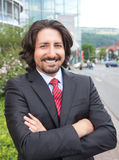Turkish businessman with suit in front of his office Stock Images