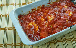 Turkish Cabbage Rolls with Yoghurt Sauce. With Tomato Basil Marinara Sauce Royalty Free Stock Image