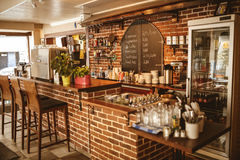 Turkish cafe in Helsenki. Delicious coffee, and a brick Breakfast bar stock images