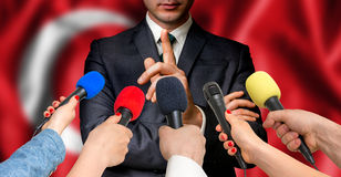 Turkish candidate speaks to reporters - journalism concept Stock Photography