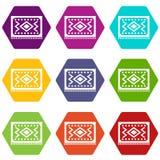 Turkish carpet icon set color hexahedron. Turkish carpet icon set many color hexahedron isolated on white vector illustration stock illustration