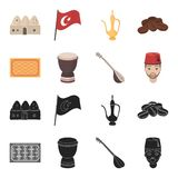 Turkish carpet, saz, drum, turkish men.Turkey set collection icons in black,cartoon style vector symbol stock. Illustration stock illustration