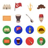 Turkish carpet, saz, drum, turkish men.Turkey set collection icons in cartoon,flat style vector symbol stock. Illustration royalty free illustration