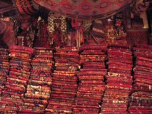 Turkish Carpet Shop. Stacks of Rugs in a Turkis Carpet Shop Stock Photo