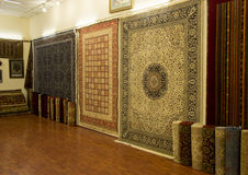 Turkish carpets on sale, Carpetium, Ephesus. The Carpetium in Ephesus is a carpet manufacturer's large showroom and weaving center.  You can learn about the Stock Photography
