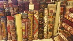 Turkish Carpets. Stack of Carpets in Cappadocia Royalty Free Stock Photos