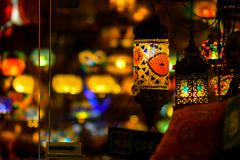 Turkish ceiling lamps. Turkish colourful and special ceiling lamps hang on shops and streets royalty free stock image