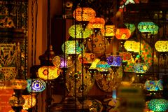 Turkish ceiling lamps. Turkish colourful and special ceiling lamps hang on shops and streets stock photo