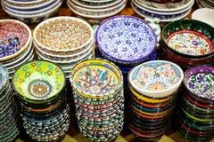 Turkish Ceramics in Grand Bazaar, Istanbul, Turkey Stock Images