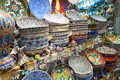 Turkish ceramics of the Grand Bazaar in Istanbul, Turkey Royalty Free Stock Photography