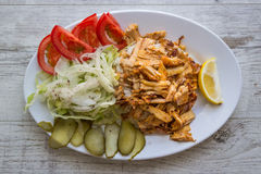 Turkish Chicken Doner Kebab with rice Stock Photo