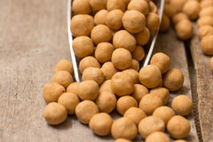 Turkish  chickpeas. Turkish chickpeas in a metal scoop  on a  old wooden trencher Stock Image
