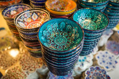 Turkish chinaware in Grand Bazaar. In Istanbul,Turkey royalty free stock photos