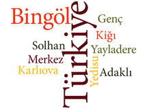 Turkish city Bingol subdivisions in word clouds Royalty Free Stock Images