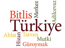 Turkish city Bitlis subdivisions in word clouds Royalty Free Stock Photography