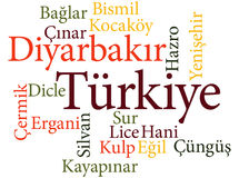 Turkish city Diyarbakir subdivisions in word clouds Stock Photography