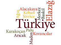 Turkish city Elazig subdivisions in word clouds Royalty Free Stock Image