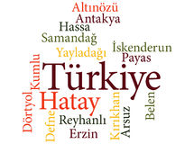 Turkish city Hatay subdivisions in word clouds Stock Photo