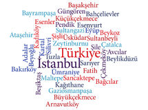 Turkish city Istanbul subdivisions in word clouds Royalty Free Stock Images