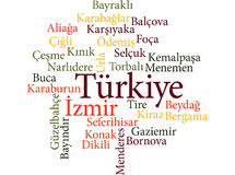 Turkish city Izmir subdivisions in word clouds. EPS 10 vector Illustration of the Turkish city Izmir subdivisions in word clouds Stock Image
