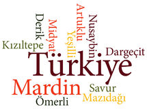 Turkish city Mardin subdivisions in word clouds Royalty Free Stock Images