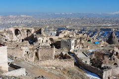 Turkish city in the mountains of Cappadocia Royalty Free Stock Images