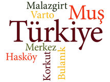 Turkish city Mus subdivisions in word clouds Royalty Free Stock Image