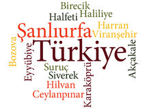 Turkish city Sanliurfa subdivisions in word clouds Royalty Free Stock Image