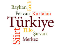 Turkish city Siirt subdivisions in word clouds Stock Image