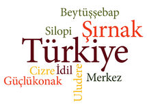Turkish city Sirnak subdivisions in word clouds Royalty Free Stock Photos