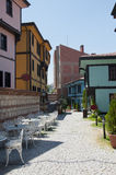 Turkish City Street with cafe tables Royalty Free Stock Image