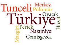 Turkish city Tunceli subdivisions in word clouds Royalty Free Stock Image
