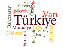 Turkish city Van subdivisions in word clouds Stock Photography
