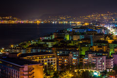 Turkish coast at night. Turkey, Alanya at night. Beautiful view from hotel roof Stock Images
