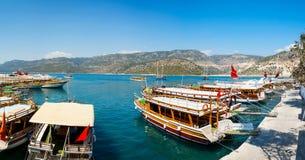 Turkish coast, yachts, panorama. Turkish coast, yachts, panoramic view of the bay and Demre Stock Images