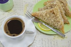 Turkish coffe with baklava dessert Stock Photo