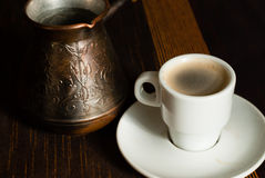 Turkish coffe pot with cup. Of coffe royalty free stock photography