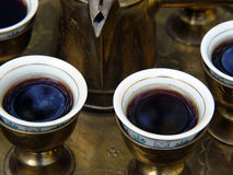 Turkish Coffee. Middle Eastern coffee Brass serving set royalty free stock photo