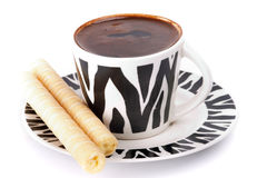 Turkish Coffee. Cop of turkish coffee with stick bisquit isolated on white Royalty Free Stock Photography