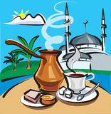Turkish coffee. On the background of the mosque Stock Image
