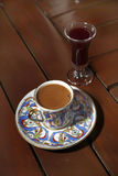Turkish coffee. And liqueur on a table Stock Photography
