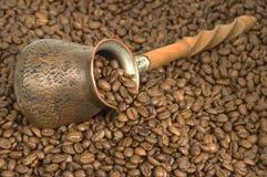 Turkish coffee. Turkish coffee pot and coffee beans Stock Photography