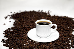 Turkish coffee on beans. Cup of coffee on coffee beans  on white Royalty Free Stock Images