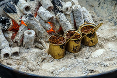 Turkish coffee brewed on charcoal Royalty Free Stock Photography