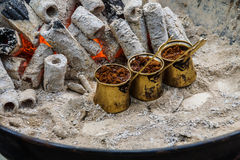 Turkish coffee brewed on charcoal Stock Images