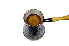 Turkish coffee brewing pot Royalty Free Stock Photo